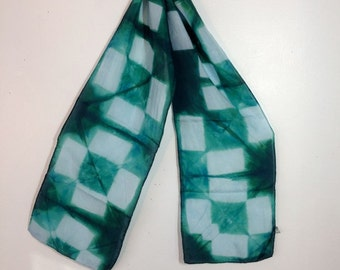 hand dyed silk scarf in green with blue rectangles