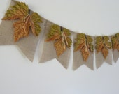 Autumn Leaves Burlap Banner Decor Rustic Fall Garland