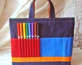 Crayon Tote Ring Bearer Gift Crayon Bag in Colorblocks READY to SHIP in Colorblocks