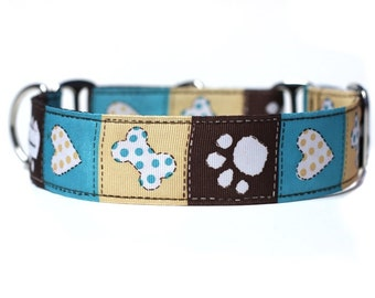 Wide 1 1/2 inch Adjustable Buckle or Martingale Dog Collar in Gosh Dog It