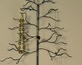 Wall Tree. Handwelded recycled steel, wall-mounted tree for jewelry, holiday ornaments, or decoration. Made to order