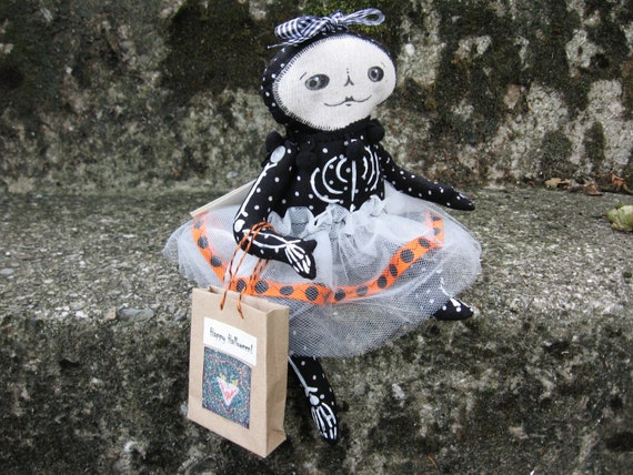 "Halloween Jointed Handmade Art Collectible Doll ""Kimmie Bones"" one of the 'Bones Sisters'"