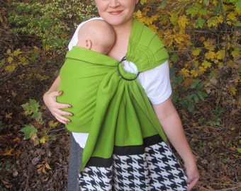 Fleece Ring Sling Baby Carrier  DVD included, winter sling, warm sling, baby sling, cozy, baby shower gift, soft, cuddly, kiwi, houndstooth