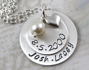 Custom Hand Stamped, custom name, Wedding gift or anniversary gift, Personalized necklace, Solid sterling silver