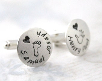 Sterling silver cufflinks, personalized dad cufflinks, personalized cuff links, mens personalized cufflinks