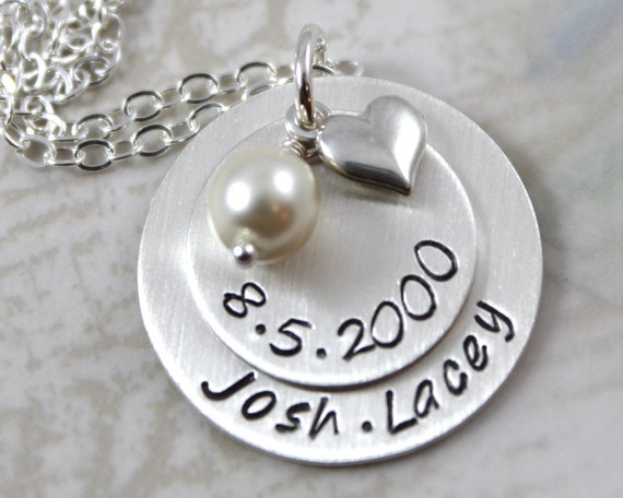 Silver Wedding Gift: Custom Hand Stamped Custom Name Wedding Gift Or Anniversary