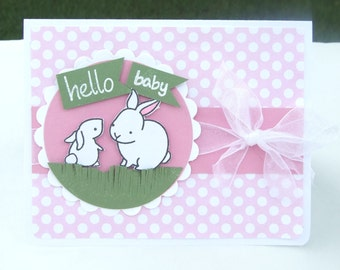 Baby Girl Baby Shower or Baby Announcement Card, Pink and While Polka Dots with Bunnies