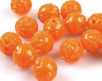 Rose Flowers Orange Plastic Spacer Beads Charms    quantity fifty   drw325 8mm