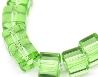 glass beads square Light Green Cube Glass Crystal Loose Beads  75 beads  DRW300