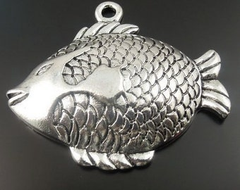 Large charms fish charm pendant silver color jewelry findings supplies quantity one x15