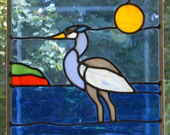 Great Blue Heron in Stained Glass
