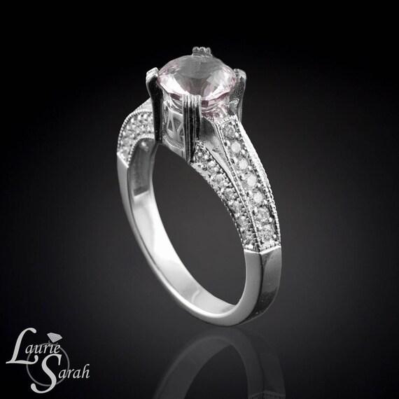 Morganite Ring, Cushion Cut Morganite Engagement Ring, Diamond Engagement Ring, Morganite White Gold Ring, Milgrain Engagement Ring - LS267
