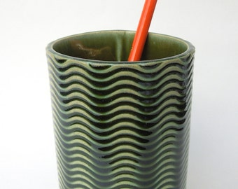 Green Textured Wavy Handmade Ceramic Pottery Pencil Holder Cup Vase