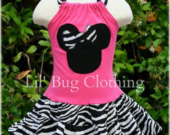 Custom Boutique Clothing Zebra Minnie Mouse And Hot Pink Tiered Halter Dress