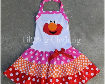 Custom Boutique Pink Orange and Red Polka Dot Elmo Tiered Halter Birthday Dress