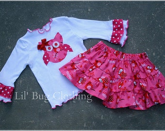 Valentines Day Custom Boutique Tee and Tiered Owl Skirt Outfit