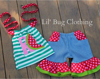 Custom Boutique Green Stripes  Personalized Watermelon Summer Pocket Denim Shorts and Halter Top Girl Outfit