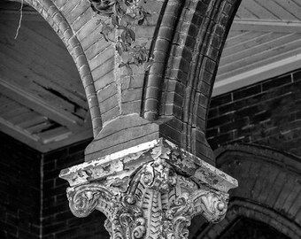 Abandoned Church (Architectural Detail) Black and White Photograph - Free Shipping in US