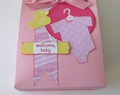 "Baby Girl Welcome Baby  Small Pink Handmade Gift bag 4"" x 4 3/4"""
