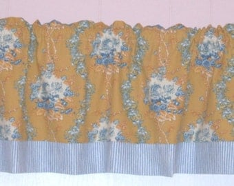 BLUE and Golden YELLOW TOILE Curtain Valance