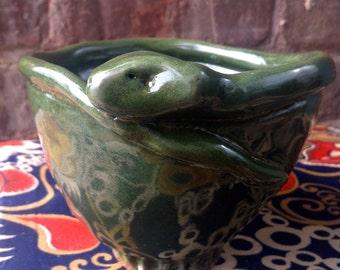 Pottery Snake Bowl Pinch Pot Hand Built Green Glaze