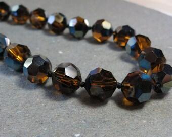 Honey Gold Crystal Necklace Vintage Necklace Choker Necklace