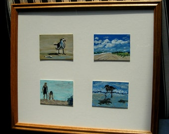 Four Beachy Framed ACEOs in a 12 by 14 inch wood frame
