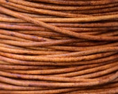 Round Leather Cord 2mm - Natural Light Brown 2 yards