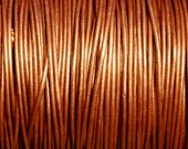 1mm Round Metallic Leather Cord - Metallic Bronze - 6 yards Leather Cording