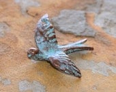 1 Greek Green Patina Peace Dove, Flying Dove Pendant 28x35mm