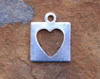 Sterling Silver 8.9x11mm Heart Cutout Square Charm - PICK Your Own Bulk Price
