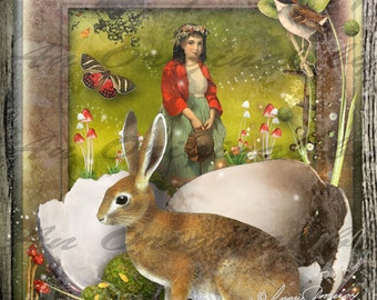Woodland Easter Digital Collage Greeting Card (Suitable for Framing)