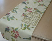 "48"" Table Runner Birds with Gold Birdcages in Raspberry Pink Duck Egg Blue and Green on Cream Modern 4ft Bird Cage 120cm"