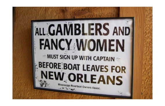 "retro vintage gamblers and fancy women print 5"" X 7"""