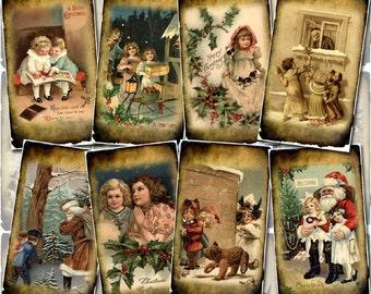 CHRiSTMaS WiNTeR SCeNeS-  pRiMiTiVe gRunGeD Vintage Art Tags/Cards- Printable Collage Sheet Download JPG Digital File- New Lower Price