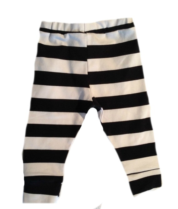 Black and White thick stripes leggings for boy or girl