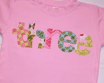 Girls THREE shirt for 3rd Birthday  - size 4 short sleeve shirt - lettering in pink, lime green, aqua blue