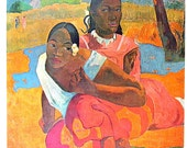Masterpiece Painting - Paul Gauguin - When Will You Marry - 1966 Vintage Print Reproduction - 12 x 15 - mysunshinevintage