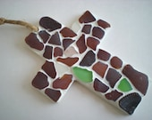 Brown Seaglass Mosaic Cross