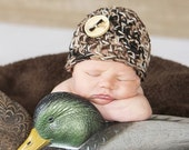 BABY CAMO BEANIE Newborn Hat Photo Prop Photography Crochet Boy Girl Military Hunting Hunters Camouflage