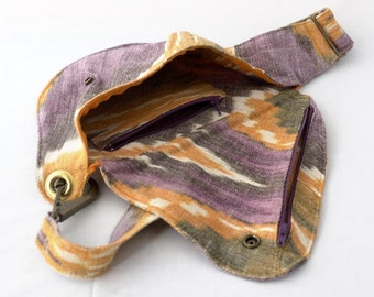 Cotton Belt Bag in Yellow and Purple : Fanny Pack