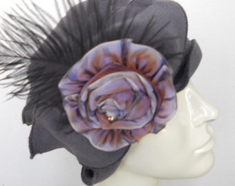 Ladies Fleece flapper Cloche - French Ribbon Rose - Grey with Lavender - Eloise