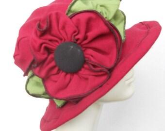 Ladies Spring Hat - Edwardian Travel Hat -  Organic Cotton and Hemp Jersey -Red -Traveling Mabel, Short Brim