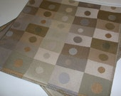 Destash fabric upholstery samples - tan brown circle rectangles