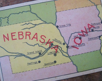 Vintage United States Geography Flash Card - Nebraska & Iowa