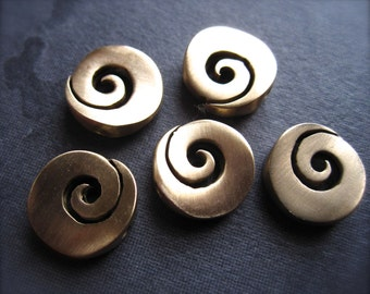 Larger Milky Way - 5 Swirly Bronze Focal Beads - 12mm
