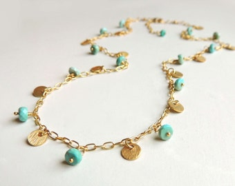 Anna Necklace with Faceted Sleeping Beauty Turquoise Wire Wrapped Handmade Gold Fall Fashion