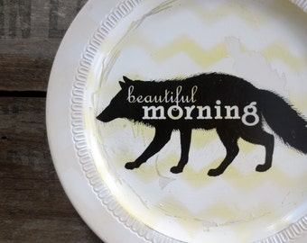 Wolf Print - Modern Woodland Wall Decor- Wolf Silhouette - Nursery Sign - Beautiful Mornings - Yellow White Chevron  - Cottage