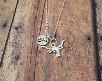 Longhorn initial necklace - longhorn jewelry, Texas necklace, silver longhorn necklace, Texas jewelry, gift for Texan, steer necklace