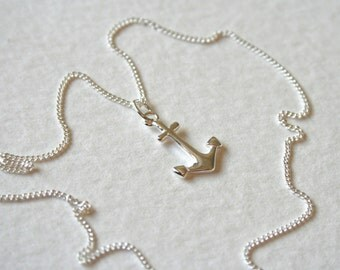 Sterling Silver Tiny Anchor Charm Necklace Hello Sailor